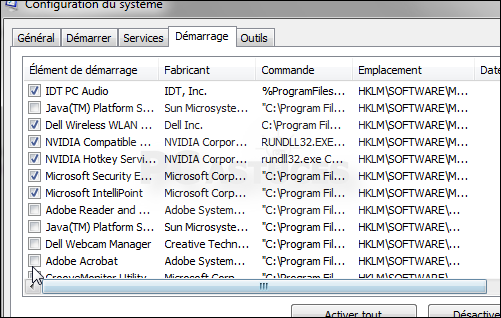 comment arreter les programme au demarrage de windows 7