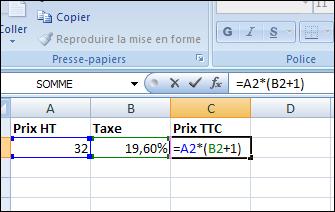 calculer un prix ht ou ttc excel tous les cours en ligne