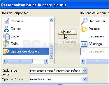 Personnaliser la barre d 39 outils des dossiers windows xp for Fenetre windows outils