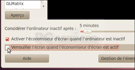 Ne plus demander de mot de passe à la sortie de l'écran de veille - Linux Ubuntu 10.04 2925-3