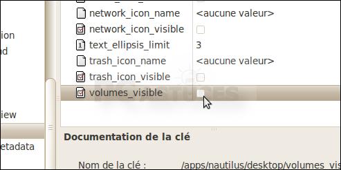 Masquer les icônes des disques amovibles du Bureau - Linux Ubuntu 10 3000-4