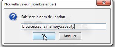 Déplacer le cache du navigateur en mémoire - Firefox 3332-8