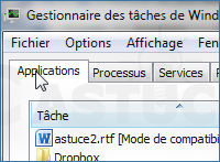 Lancer programme Gestionnaire t�ches Windows