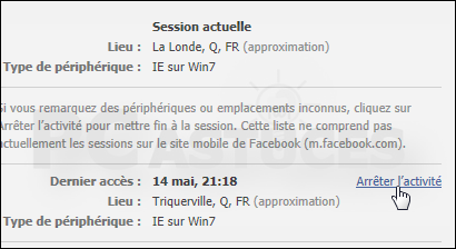 Fermer session Facebook distance Tous