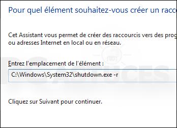Redémarrer ordinateur avec raccourci Windows