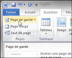 Ajouter une page de garde à un document - Word 2010