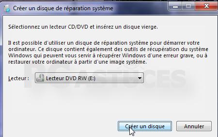 Créer disque réparation Windows