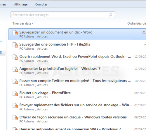 S'abonner flux Windows Live Mail