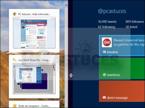 pc astuces afficher simultanment des applications de l 39 interface mtro et du bureau windows 8. Black Bedroom Furniture Sets. Home Design Ideas