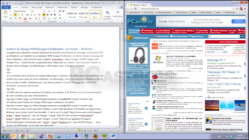 Afficher 2 fen tres c te c te windows 7 for Affichage fenetre miniature windows 7