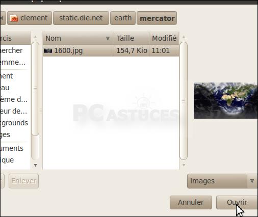 Pc astuces utiliser une photo actualis e de la terre en for Photo ecran ubuntu