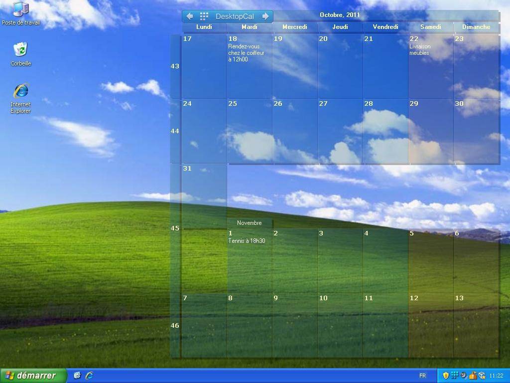 Desktop Calendar - Agrandissement de la capture d'cran