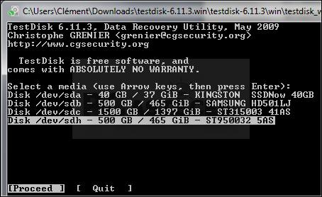 Disque dur format RAW : TestDisk