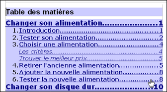 Pc astuces cr er une table des mati res pour un document - Comment faire une pagination sur open office ...