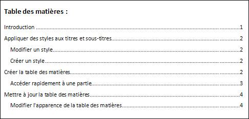 Ajouter une table des mati res ses documents word worldinformatique - Exemple table des matieres ...