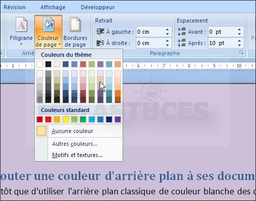 ajouter une couleur d 39 arri re plan ses documents word 2007. Black Bedroom Furniture Sets. Home Design Ideas