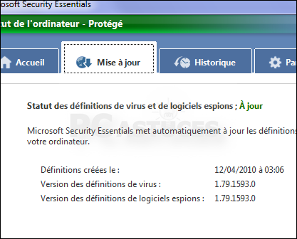 mise a jour microsoft security essentials mpam-fe