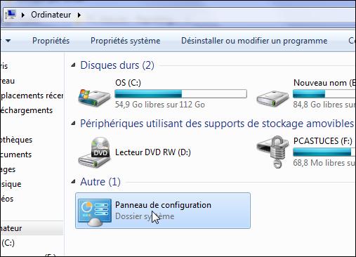 Ajouter le panneau de configuration la fen tre for Fenetre windows 7