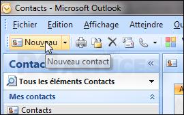 Cliquez Sur Le Bouton Nouveau Contact