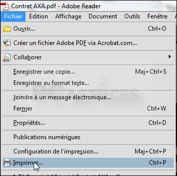 Dans Adobe Reader Ouvrez Votre Document Et Cliquez Sur Le Menu Fichier Puis Imprimer
