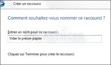 Cr er un raccourci pour vider le presse papier windows 7 et windows vista - Creer un raccourci sur le bureau ...