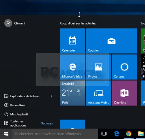 Redimensionner le menu Démarrer - Windows 10