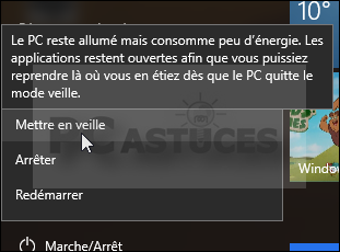 pc astuces exploiter la mise en veille windows 10. Black Bedroom Furniture Sets. Home Design Ideas