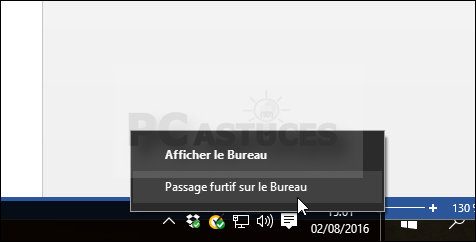 Afficher le bureau windows
