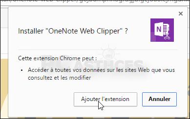 Enregistrer une page Web dans OneNote - Chrome