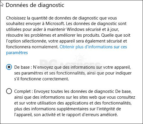 Limiter la collecte des données - Windows 10 5579-4