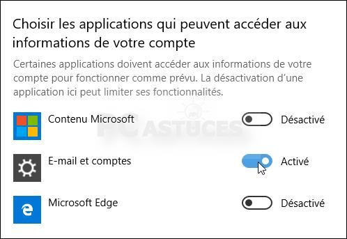 Empêcher les applications d'accéder aux informations de votre compte - Windows 10 5582-6