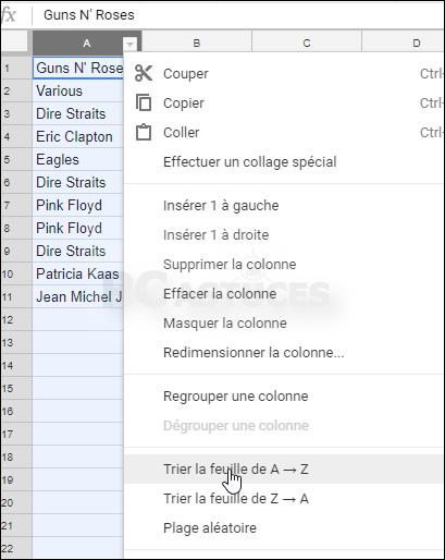 Trier des données - Google Sheets 5590-2