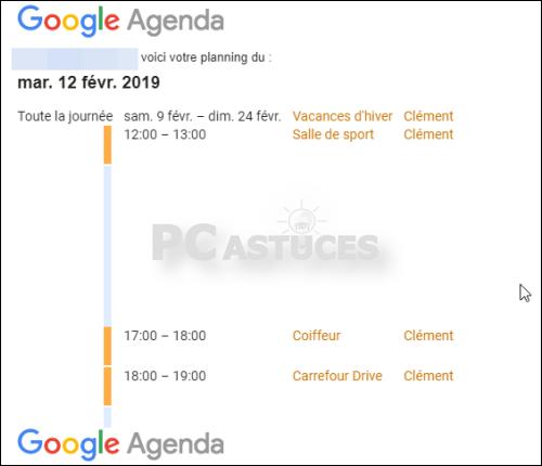 Recevoir son planning quotidien par email - Google Agenda 5610-5