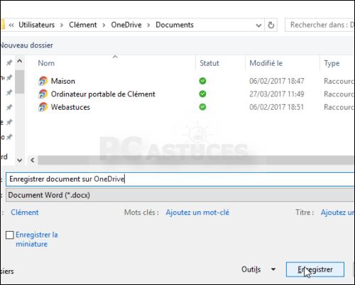 Forcer l'enregistrement des documents dans OneDrive - Word 5625-6