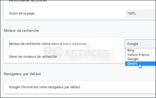 Changer le moteur de recherche pour Qwant - Chrome 5633-3