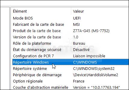 Identifier le lecteur où est installé Windows - Windows 10 5662-4