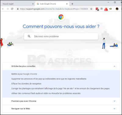 Les touches de fonctions dans Chrome - Chrome 5666-1