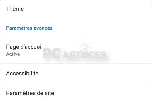 Changer la page de démarrage dans Google Chrome - Android