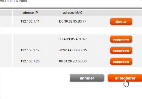 ajouter adresse mac wifi livebox