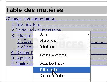 Pc astuces cr er une table des mati res pour un document - Numerotation des pages sur open office ...