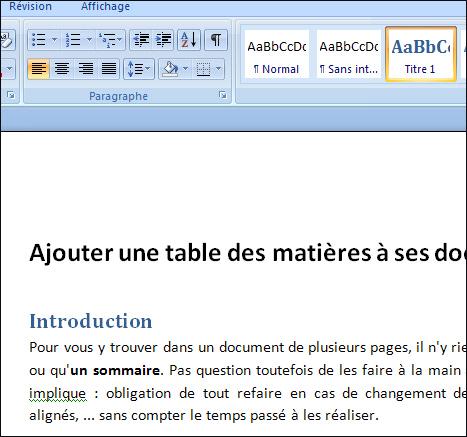 Astuces Informatique Ajouter Une Table Des Matieres A Ses